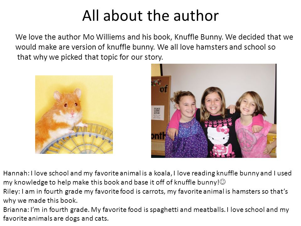 All about the author Hannah: I love school and my favorite animal is a koala, I love reading knuffle bunny and I used my knowledge to help make this b
