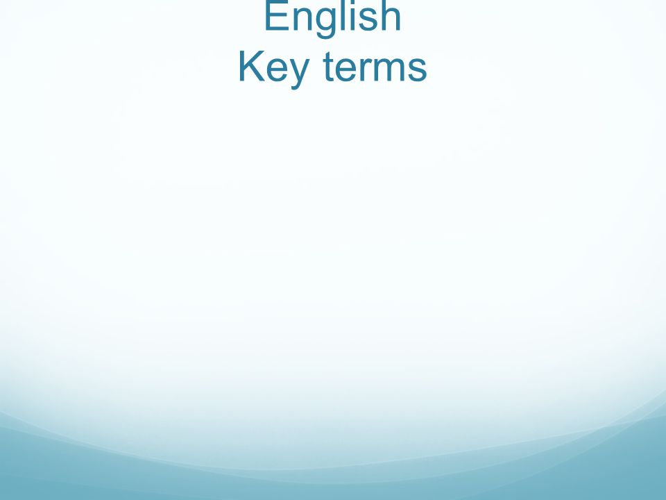English Key terms