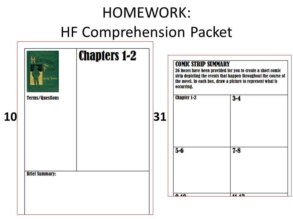 HOMEWORK: HF Comprehension Packet 10 31