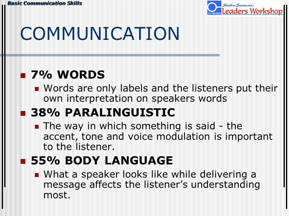 Basic Communication Skills COMMUNICATION 7% WORDS Words are only labels and the listeners put their own interpretation on speakers words 38% PARALINGU