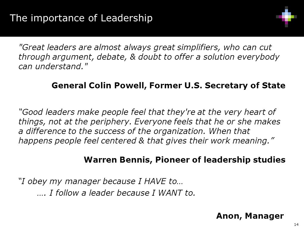 14 The importance of Leadership