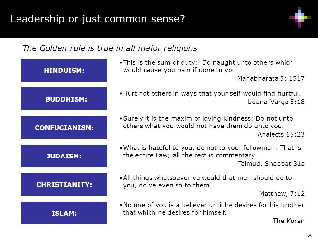 56 Leadership or just common sense? The Golden rule is true in all major religions This is the sum of duty: Do naught unto others which would cause yo