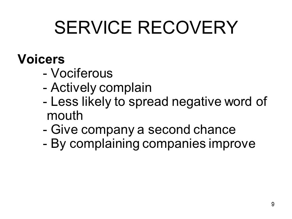 30 SERVICE RECOVERY.
