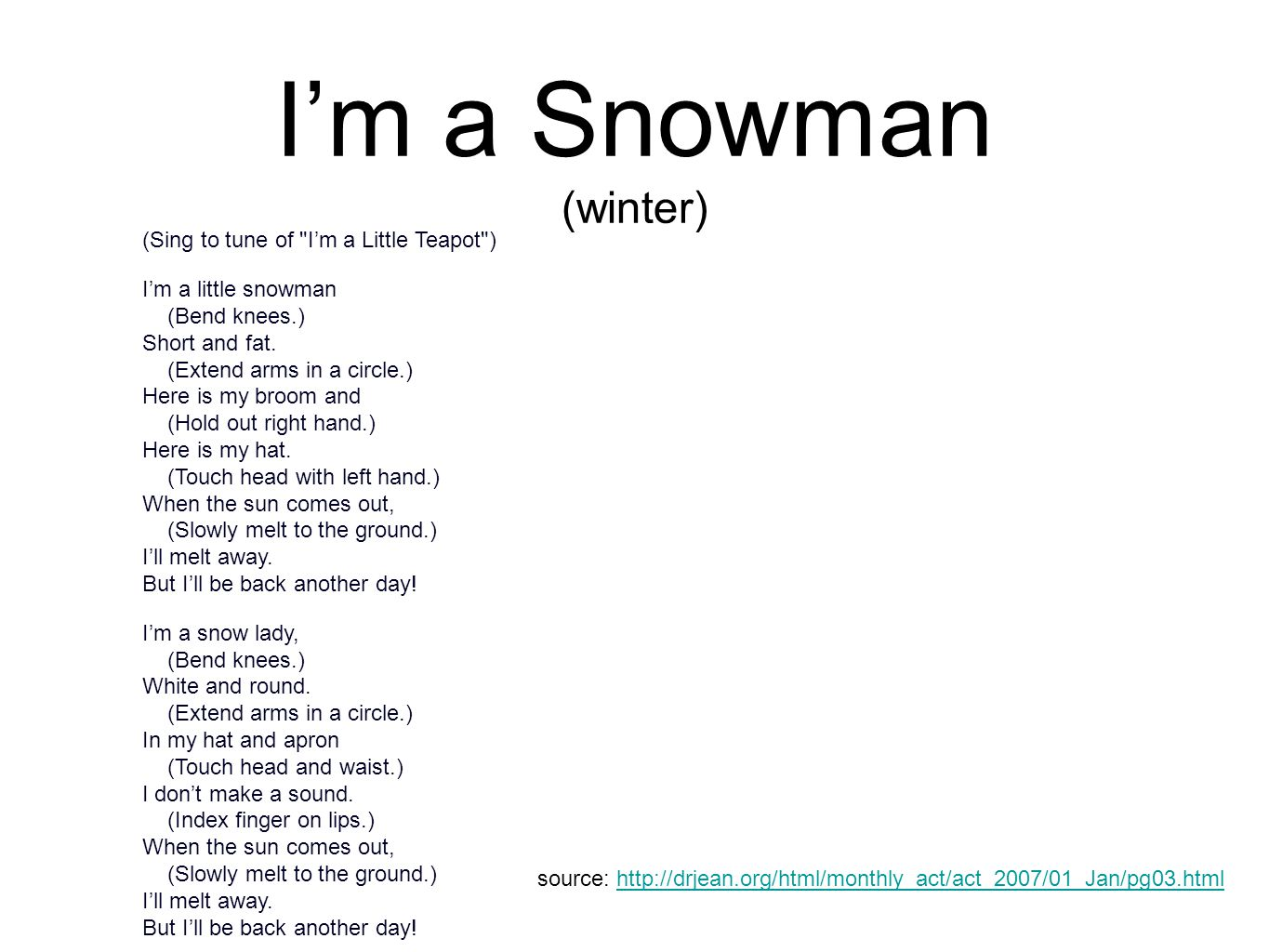 I'm a Snowman (winter) (Sing to tune of
