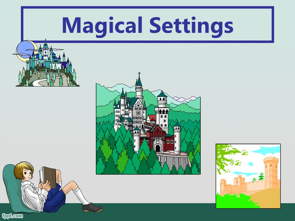 Elements of a Fairy Tale Another element of a fairy tale is that the story often takes place in a castle, a forest, or a town. settingThis is called t