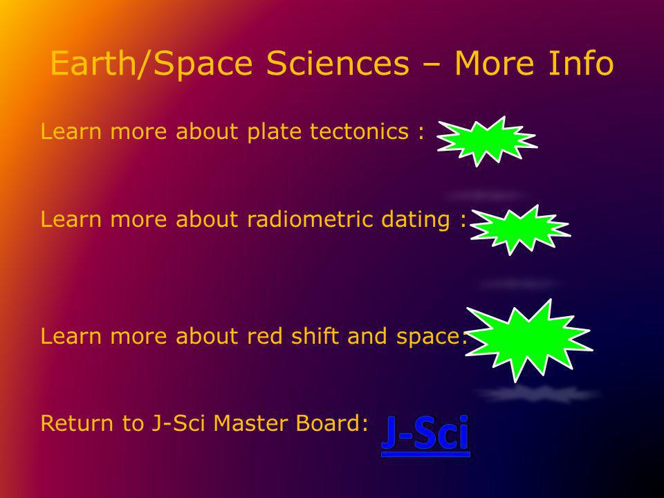 Earth/Space Sciences – More Info Learn more about plate tectonics : Learn more about radiometric dating : Learn more about red shift and space: Return to J-Sci Master Board:
