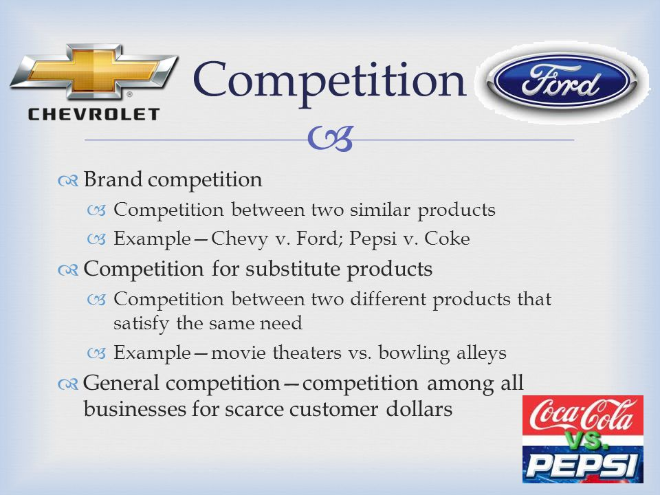   Brand competition  Competition between two similar products  Example—Chevy v. Ford; Pepsi v. Coke  Competition for substitute products  Compet