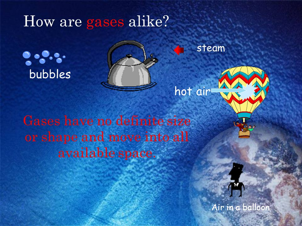 How are gases alike? bubbles hot air steam Air in a balloon Think-Pair-Share