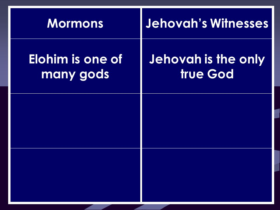 MormonsJehovah's Witnesses Elohim is one of many gods Jehovah is the only true God