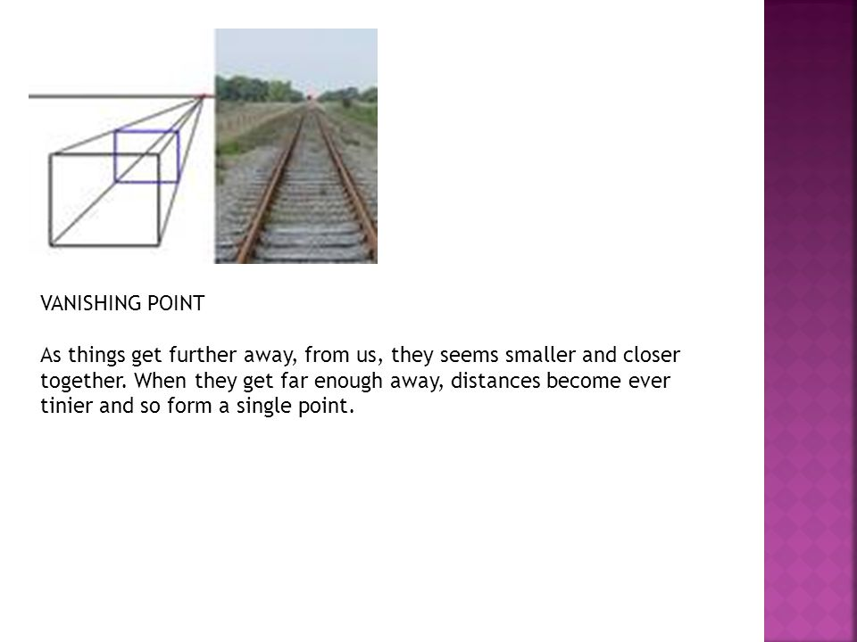 To draw one-point perspective, we arrange our subject so that one set of visible lines has a vanishing point right in front of us, and the set at right-angles goes out to infinity on each side.