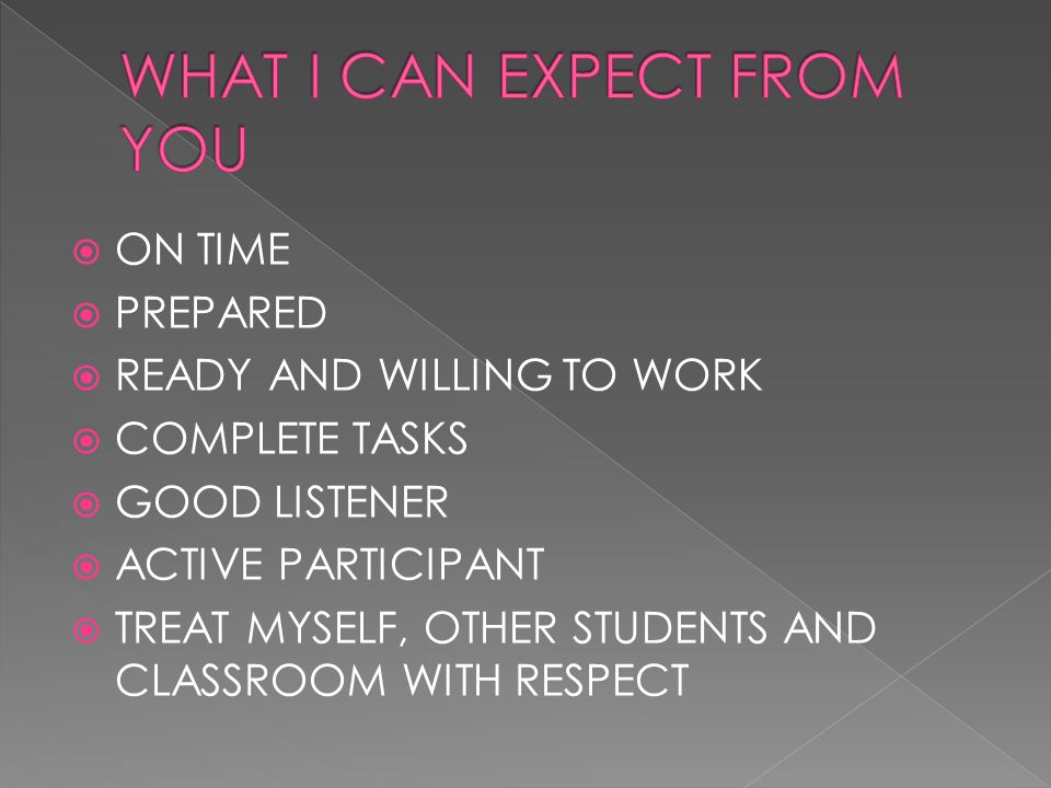  ON TIME  PREPARED  READY AND WILLING TO WORK  COMPLETE TASKS  GOOD LISTENER  ACTIVE PARTICIPANT  TREAT MYSELF, OTHER STUDENTS AND CLASSROOM WITH RESPECT
