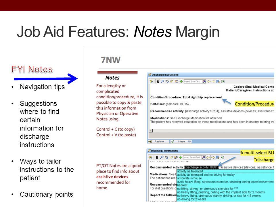 Job Aid Features: Notes Margin