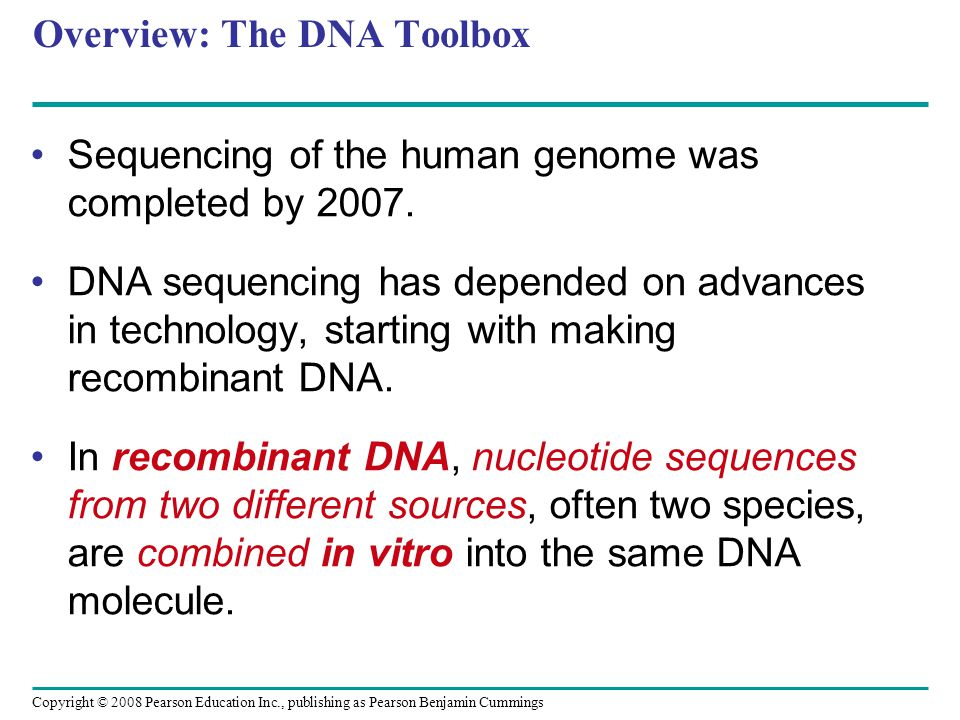 Copyright © 2008 Pearson Education Inc., publishing as Pearson Benjamin Cummings Overview: The DNA Toolbox Sequencing of the human genome was complete