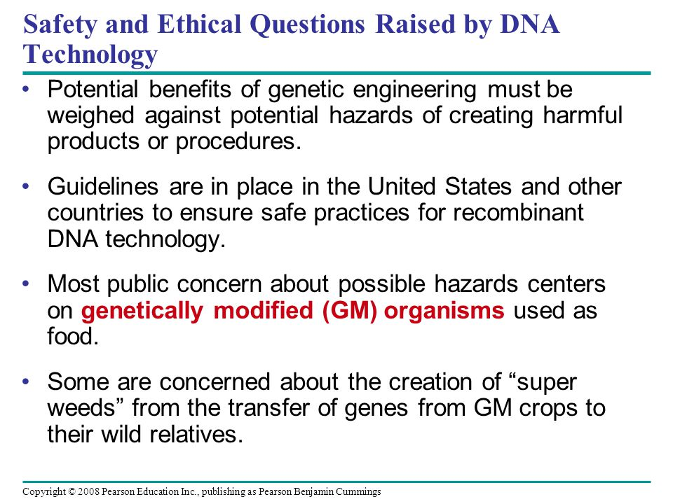 Copyright © 2008 Pearson Education Inc., publishing as Pearson Benjamin Cummings Safety and Ethical Questions Raised by DNA Technology Potential benef