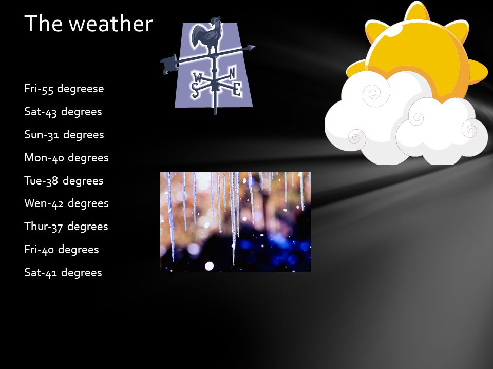 Fri-55 degreese Sat-43 degrees Sun-31 degrees Mon-40 degrees Tue-38 degrees Wen-42 degrees Thur-37 degrees Fri-40 degrees Sat-41 degrees The weather