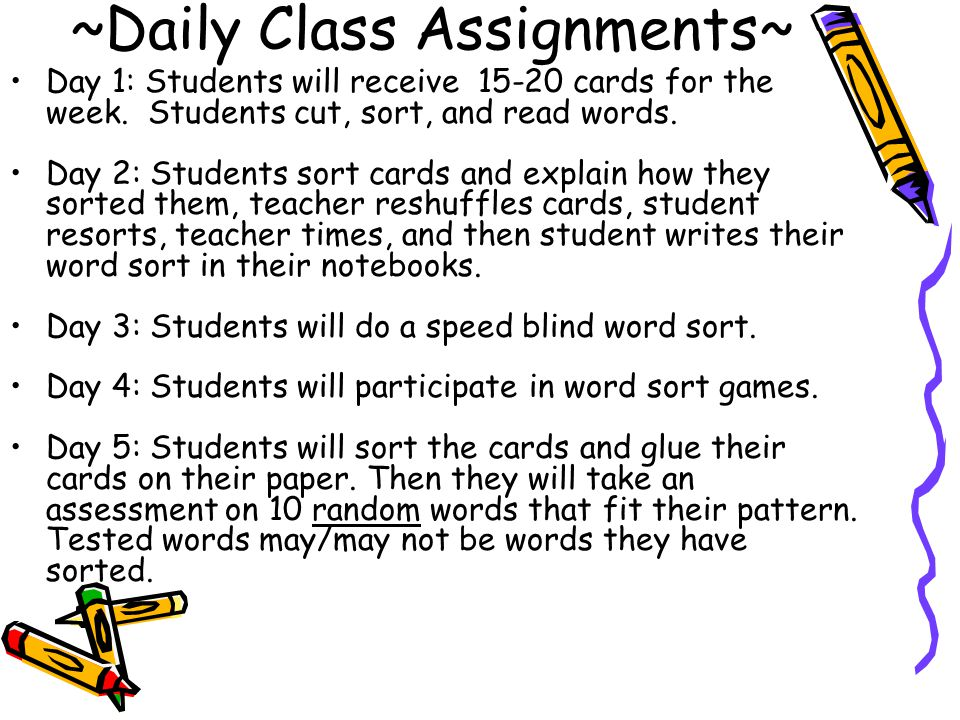~Daily Class Assignments~ Day 1: Students will receive 15-20 cards for the week.