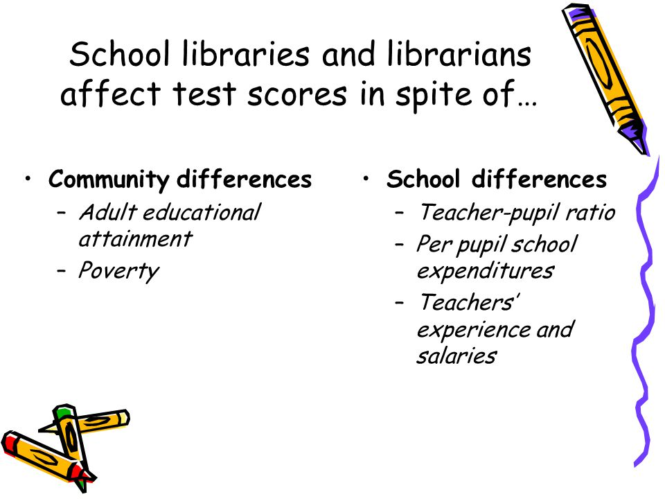 School libraries and librarians affect test scores in spite of… Community differences –Adult educational attainment –Poverty School differences –Teacher-pupil ratio –Per pupil school expenditures –Teachers' experience and salaries