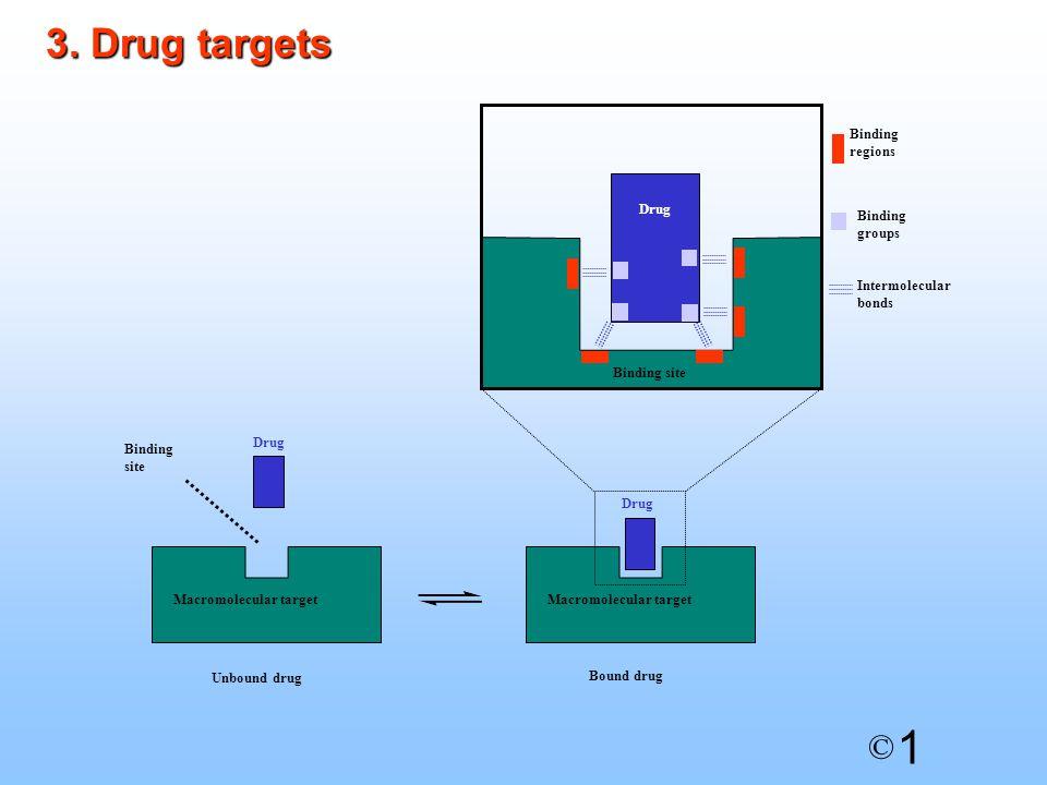 1 © Macromolecular target Drug Unbound drug Macromolecular target Drug Bound drug Binding site Drug Binding site Binding regions Binding groups Intermolecular bonds 3.