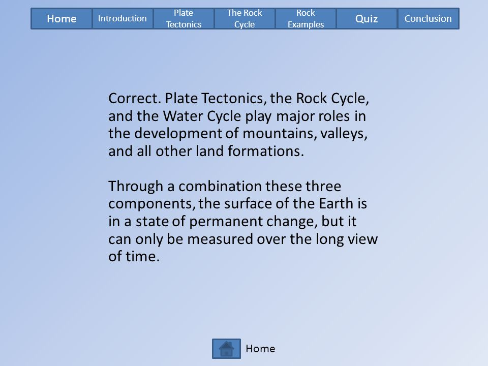Home Plate Tectonics The Rock Cycle Rock Examples Introduction Quiz Conclusion Home Correct. Plate Tectonics, the Rock Cycle, and the Water Cycle play