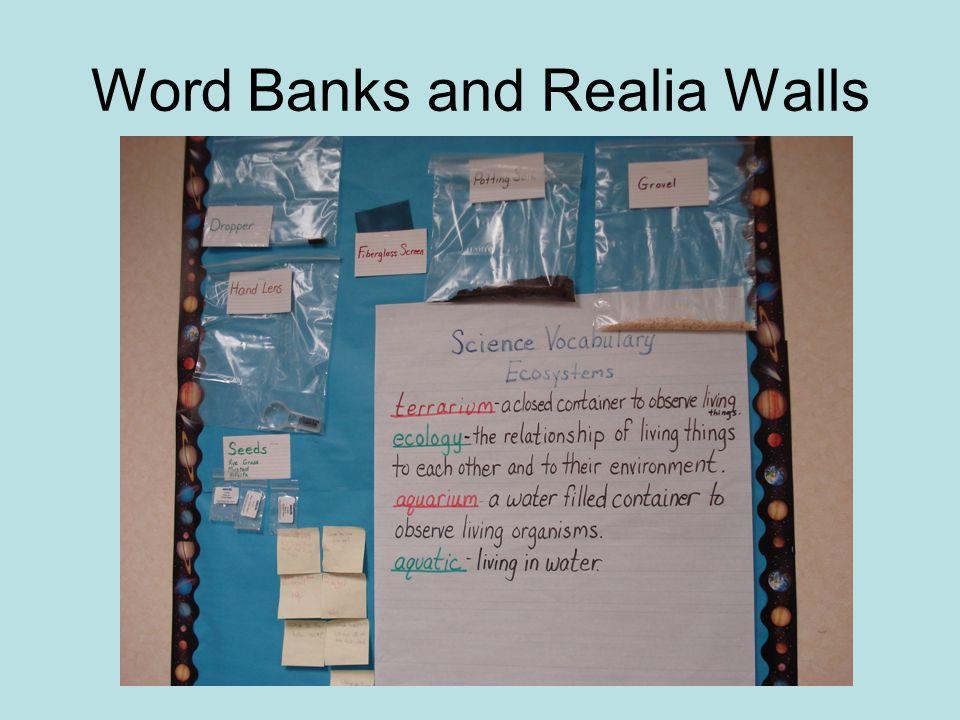 Word Banks and Realia Walls