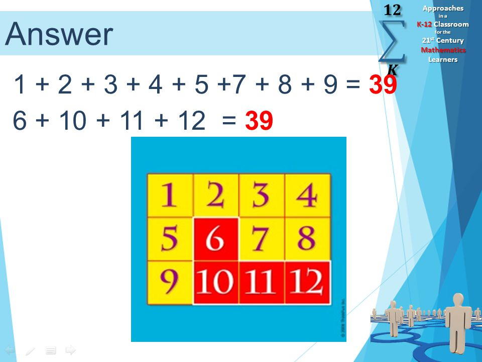 Approaches in a K-12 Classroom for the 21 st Century Mathematics Learners 1 + 2 + 3 + 4 + 5 +7 + 8 + 9 = 39 6 + 10 + 11 + 12 = 39 Answer
