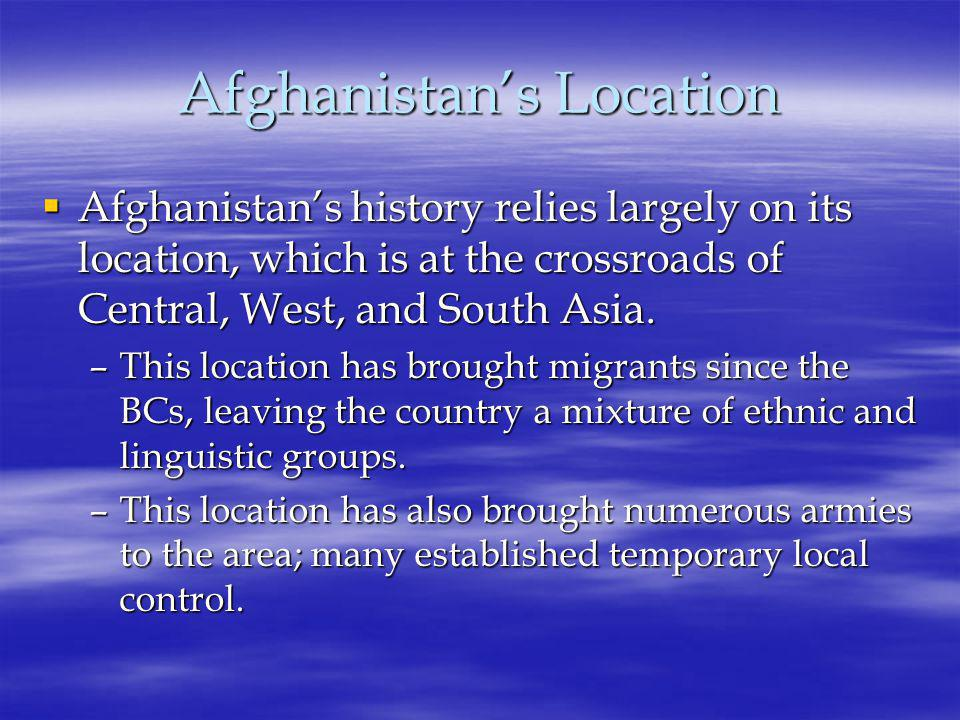 Afghanistan's Political History  For centuries, the country was a zone of conflict; this conflict stemmed from its heterogeneous ethnic groups within and from strong neighboring powers.