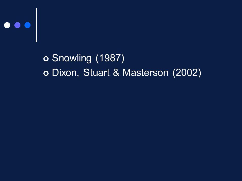 Snowling (1987) Dixon, Stuart & Masterson (2002)