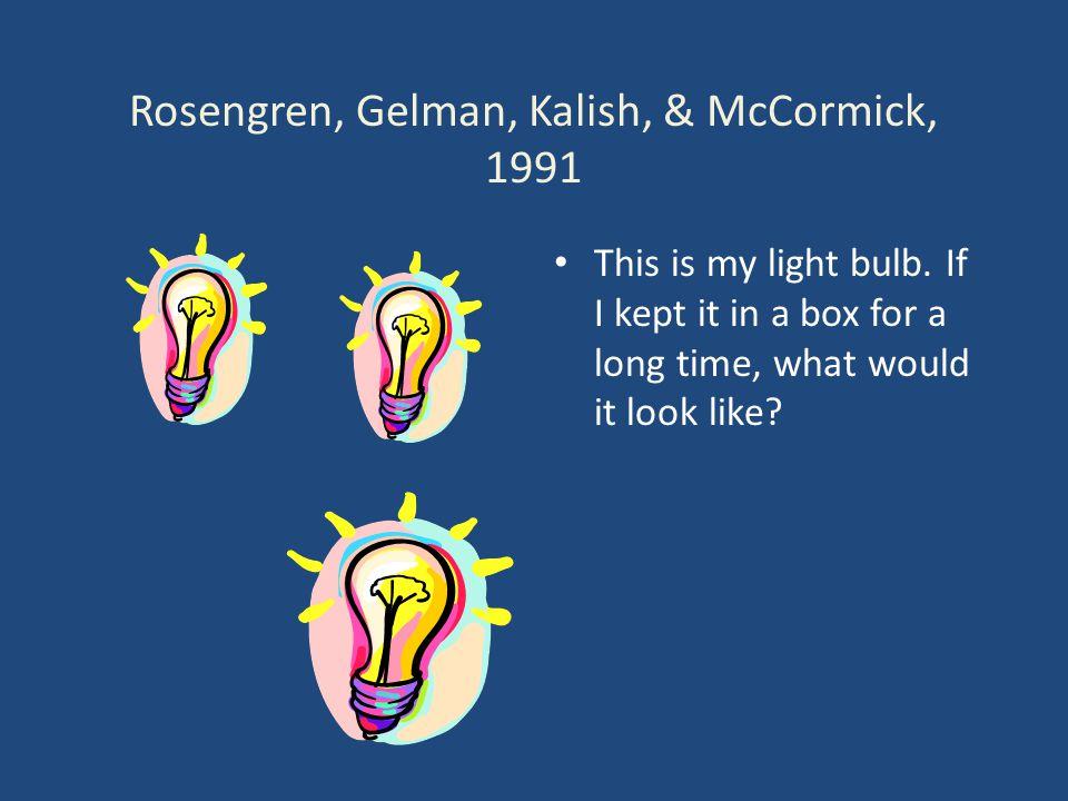 Rosengren, Gelman, Kalish, & McCormick, 1991 This is my light bulb.