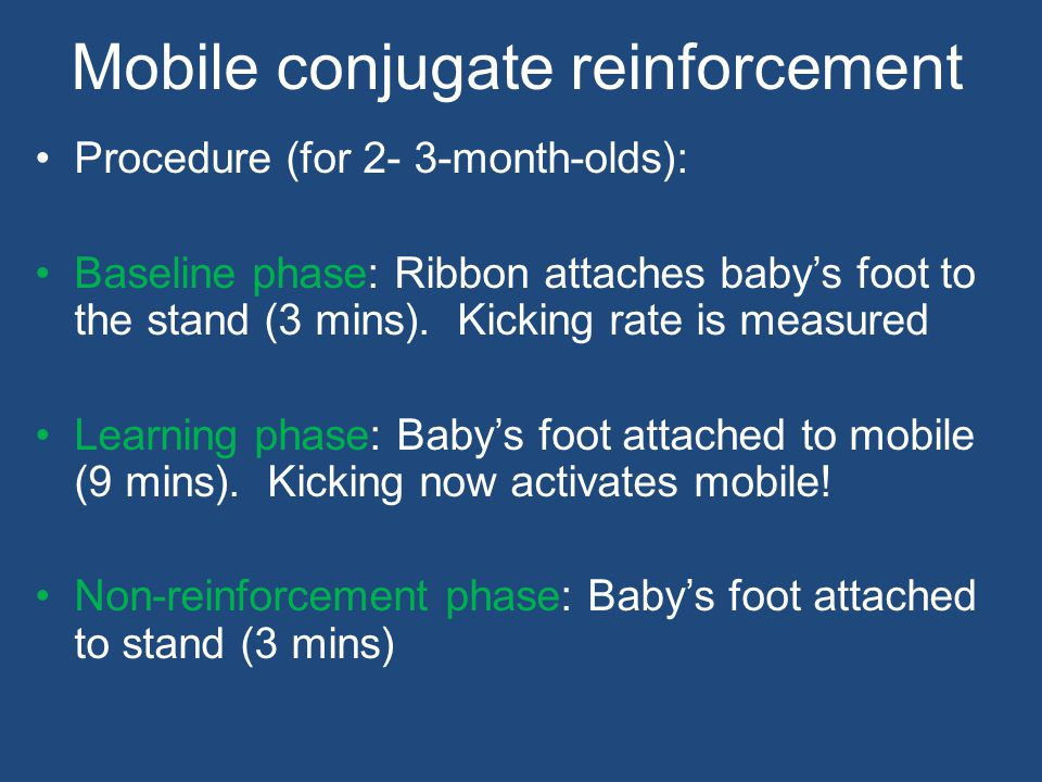 Mobile conjugate reinforcement Procedure (for 2- 3-month-olds): Baseline phase: Ribbon attaches baby's foot to the stand (3 mins).