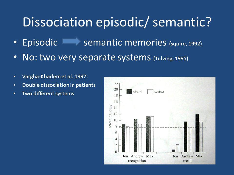 Dissociation episodic/ semantic.