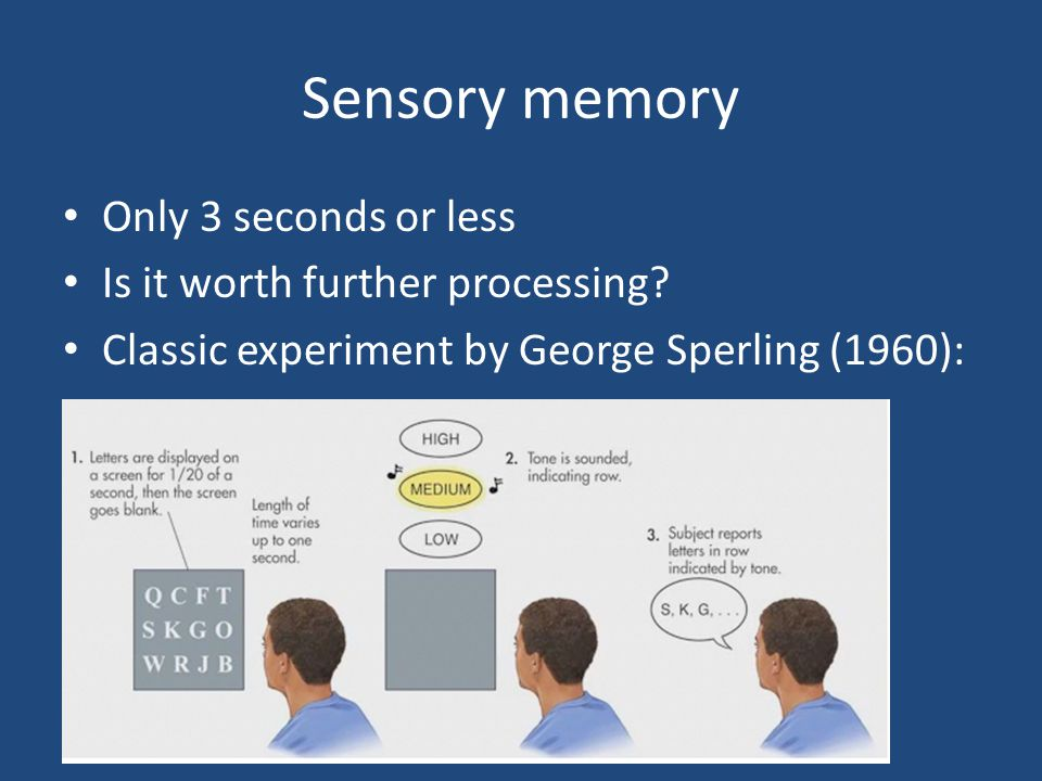 Sensory memory Only 3 seconds or less Is it worth further processing? Classic experiment by George Sperling (1960):