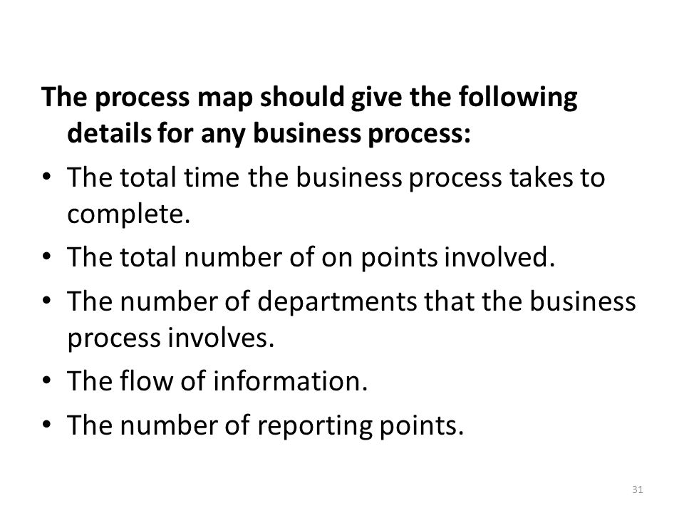 The process map should give the following details for any business process: The total time the business process takes to complete.