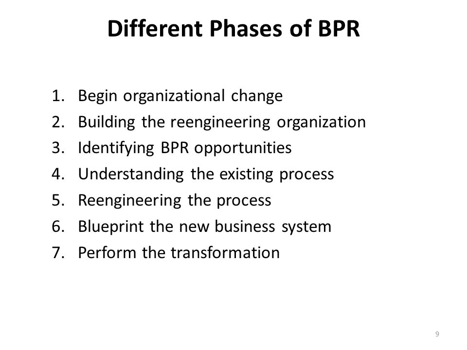 Different Phases of BPR 1.Begin organizational change 2.Building the reengineering organization 3.Identifying BPR opportunities 4.Understanding the existing process 5.Reengineering the process 6.Blueprint the new business system 7.Perform the transformation 9