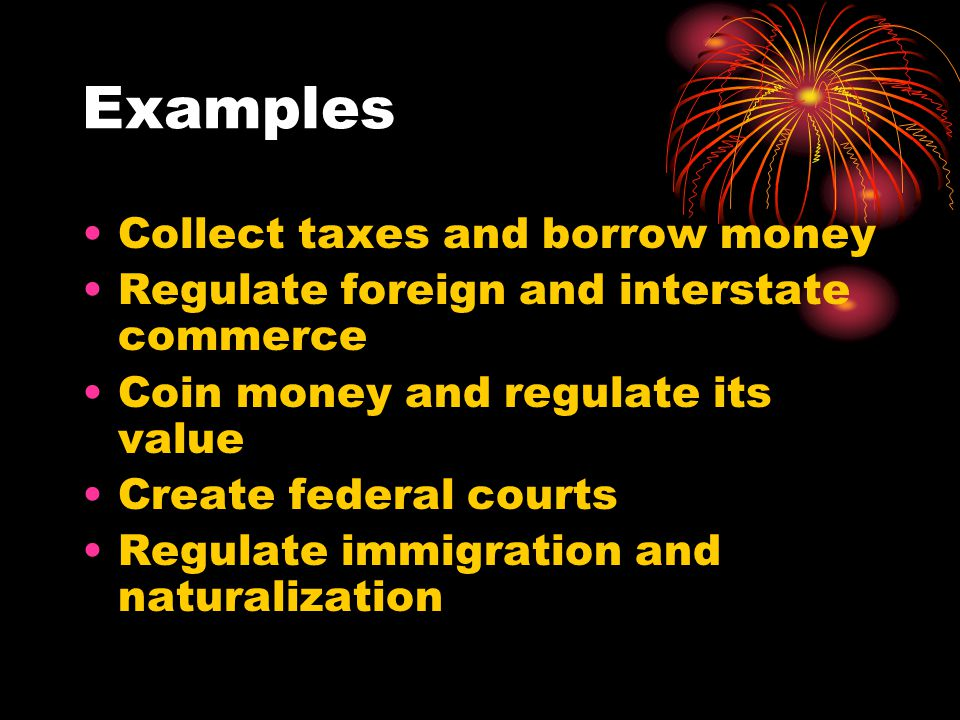 Implied Powers These are Congressional powers not stated specifically in the Constitution but suggested by the Constitution's necessary and proper clause.