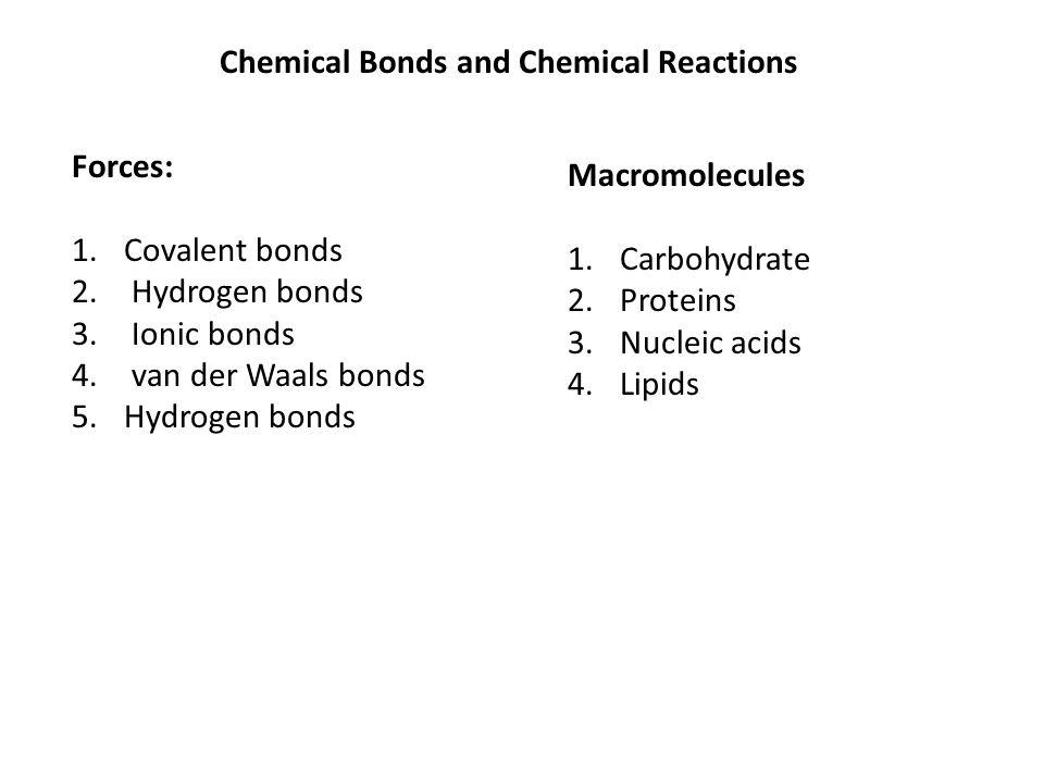 Chemical Bonds and Chemical Reactions Forces: 1.Covalent bonds 2. Hydrogen bonds 3. Ionic bonds 4. van der Waals bonds 5.Hydrogen bonds Macromolecules