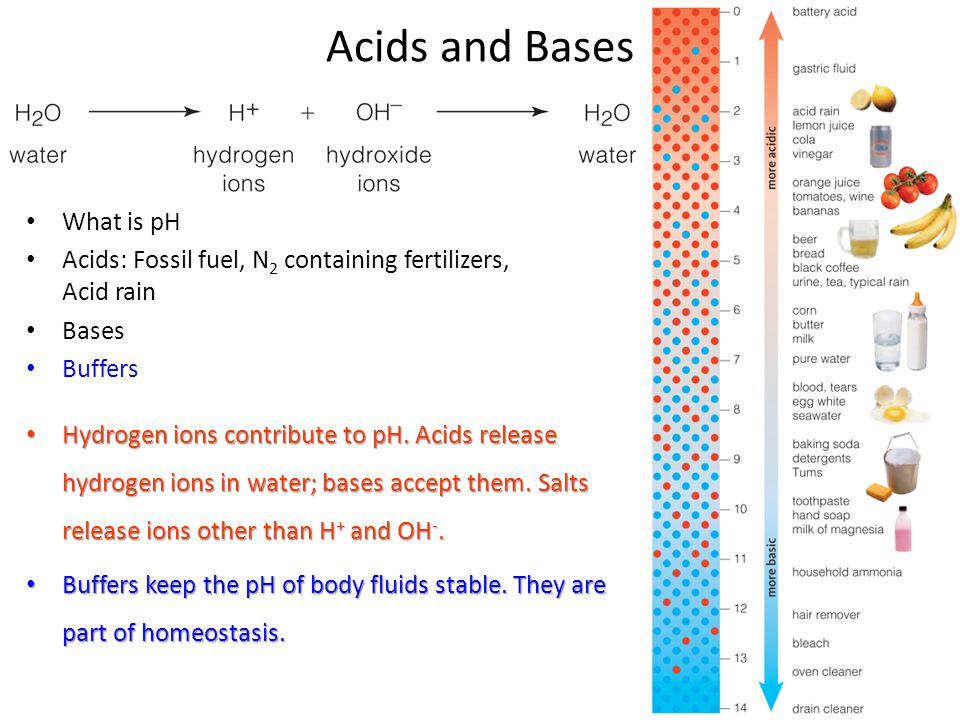 Acids and Bases What is pH Acids: Fossil fuel, N 2 containing fertilizers, Acid rain Bases Buffers Hydrogen ions contribute to pH. Acids release hydro