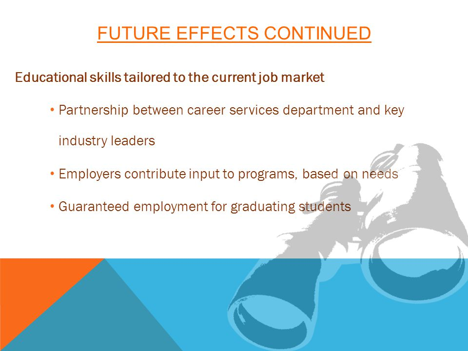 FUTURE EFFECTS CONTINUED Educational skills tailored to the current job market Partnership between career services department and key industry leaders Employers contribute input to programs, based on needs Guaranteed employment for graduating students