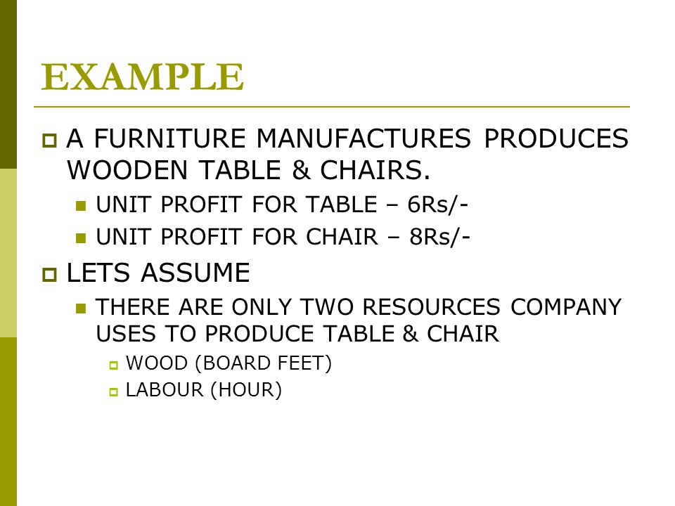 EXAMPLE  A FURNITURE MANUFACTURES PRODUCES WOODEN TABLE & CHAIRS.
