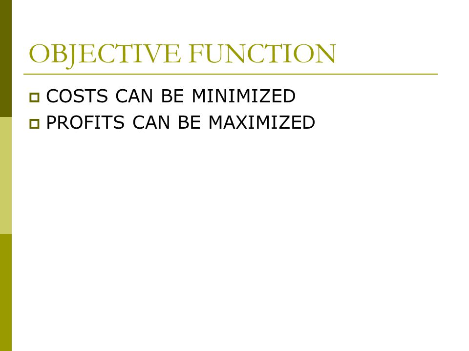 OBJECTIVE FUNCTION  COSTS CAN BE MINIMIZED  PROFITS CAN BE MAXIMIZED