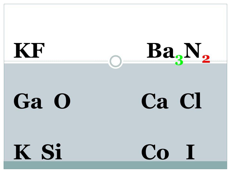 KF Ba 2+ N 3- Ga O Ca Cl K SiCo I