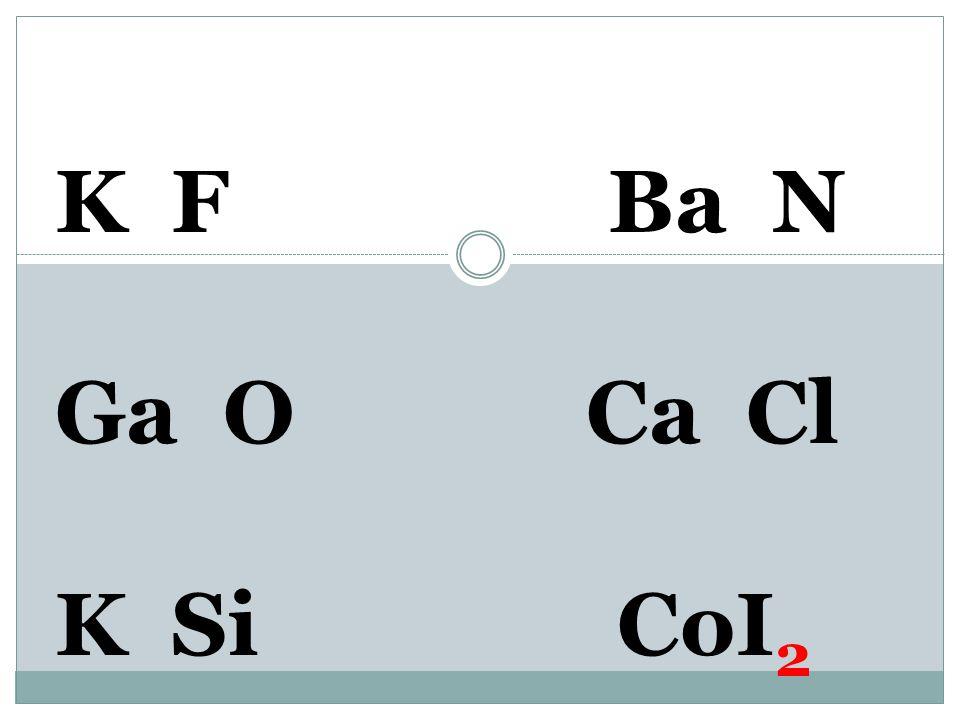 K F Ba N Ga O Ca Cl K Si Co 2+ I 1-