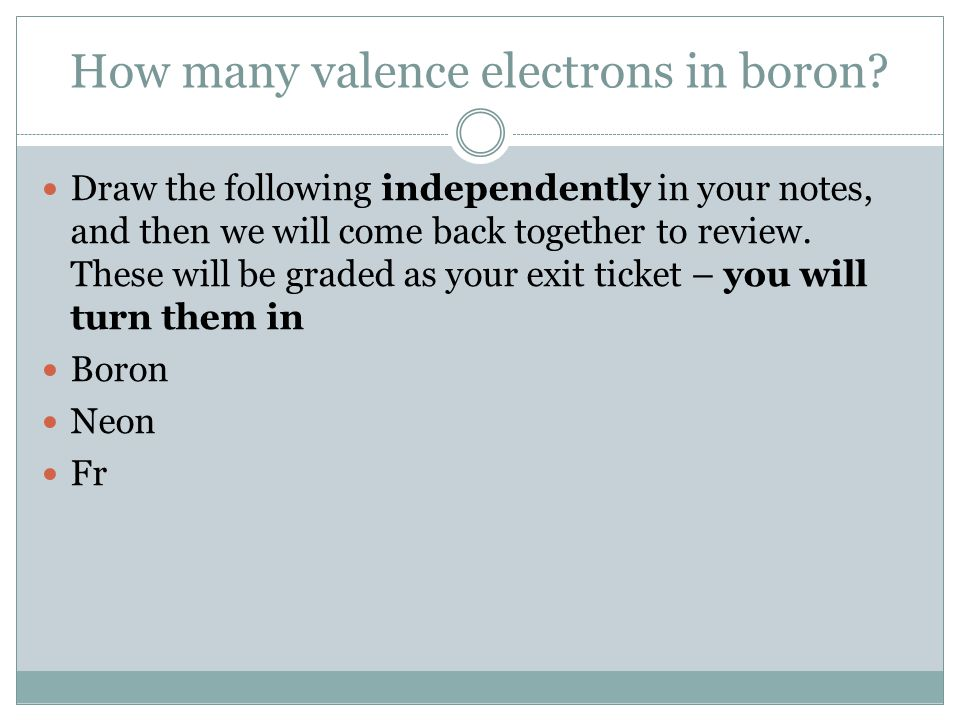 How many valence electrons in boron.