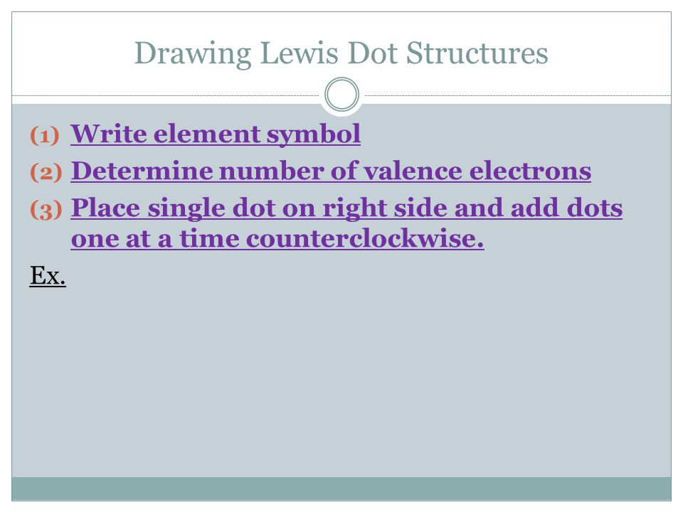 Drawing Lewis Dot Structures (1) Write element symbol (2) Determine number of valence electrons (3) Place single dot on right side and add dots one at a time counterclockwise.