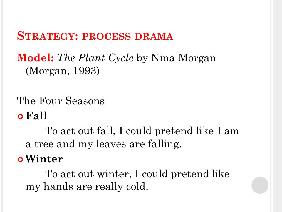 S TRATEGY : PROCESS DRAMA Model: The Plant Cycle by Nina Morgan (Morgan, 1993) The Four Seasons Fall To act out fall, I could pretend like I am a tree and my leaves are falling.