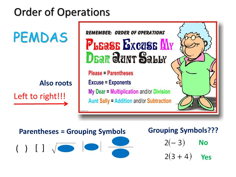 Order of Operations Parentheses = Grouping Symbols ( ) [ ] Left to right!!.