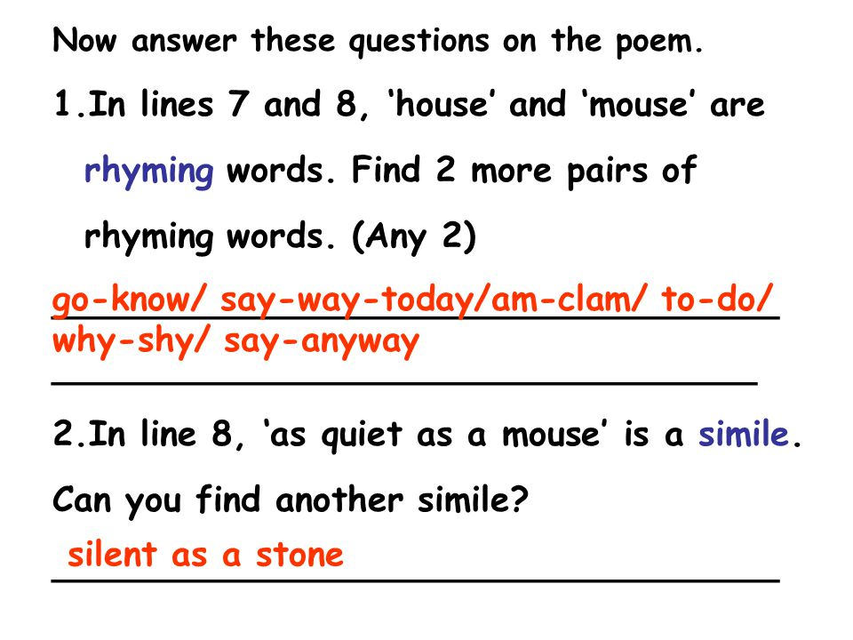 Now answer these questions on the poem. 1.In lines 7 and 8, 'house' and 'mouse' are rhyming words. Find 2 more pairs of rhyming words. (Any 2) _______