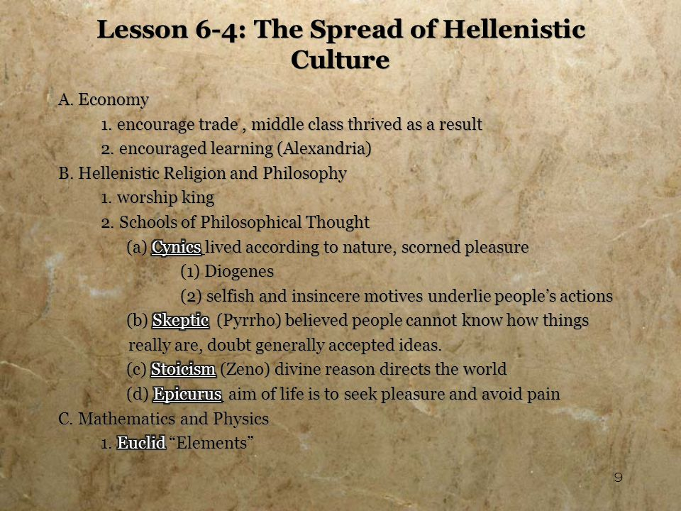 10 Lesson 6-4: The Spread of Hellenistic Culture (cont.) Archimedes 2.