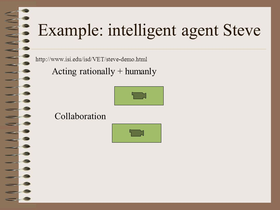 Example: intelligent agent Steve   Acting rationally + humanly Collaboration