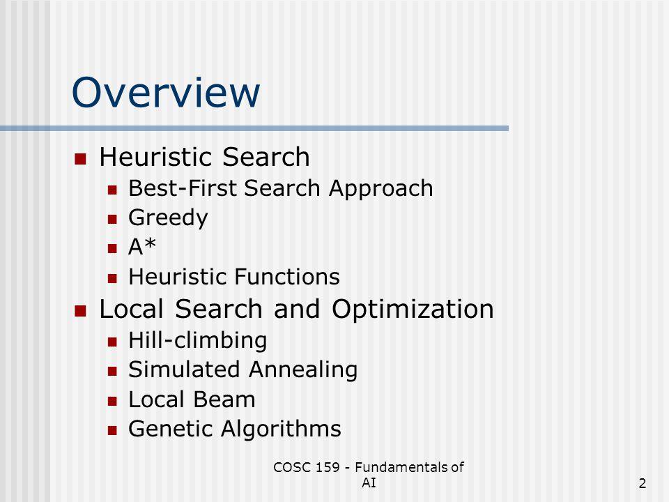 COSC 159 - Fundamentals of AI13 A* Search Continued Arad Rimnicu Vilcea OradeaFagaras 646415671413 591 Sibiu Bucharest 450 PitestiSibiuCraiova 526 417553 Craiova 615 Rimnicu Vilcea 607 Bucharest 418