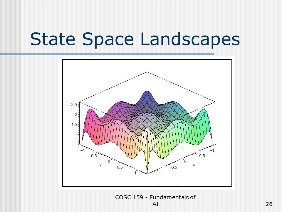 COSC 159 - Fundamentals of AI26 State Space Landscapes